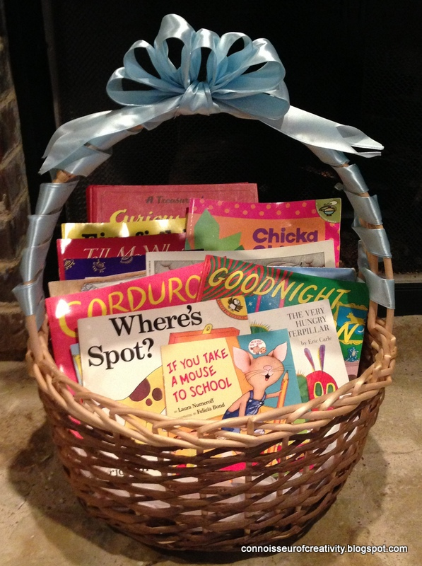 Baby Gift Baskets With Books : Connoisseur of creativity baby shower book basket gift a
