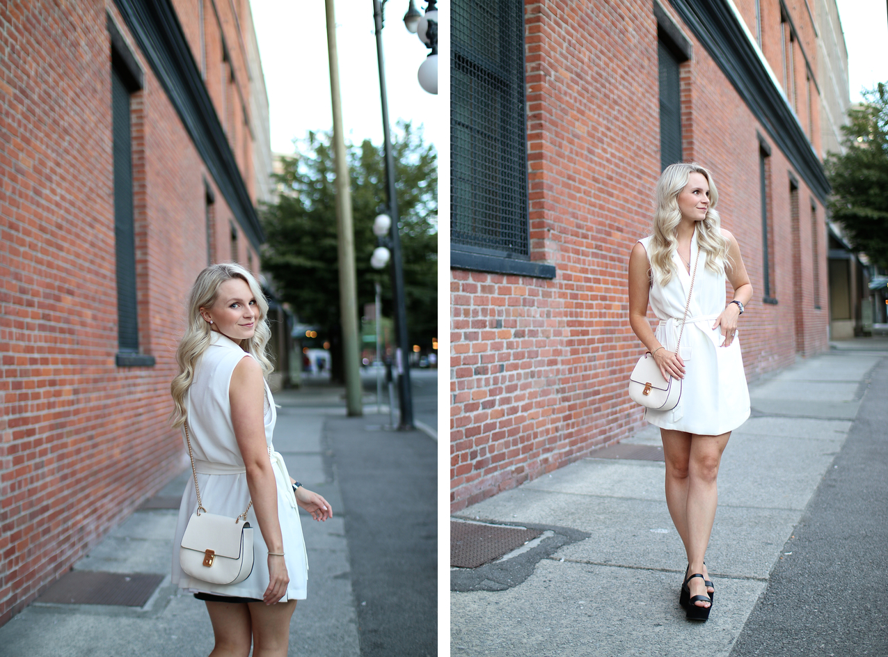 a blonde fashion blogger demonstrated how to wear an all white dress for a casual date night, also wearing black flatform shoes for forever21