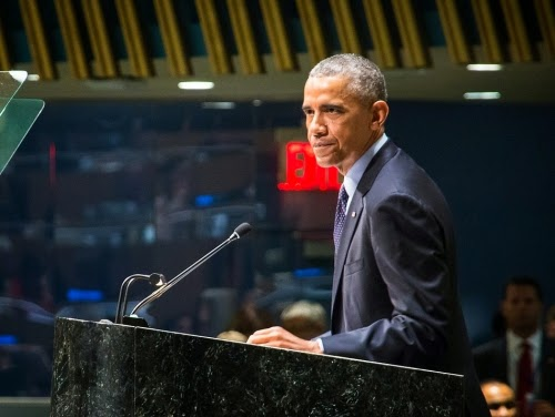 Obama speaking during the U.N. Climate Summit (Credit: John Gillespie/flickr)  Click to enlarge.