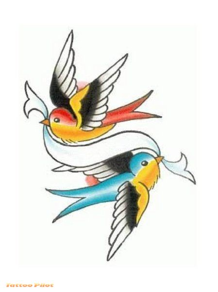 swallow tattoo designs. 2010 Pair Swallow Bird Tattoo