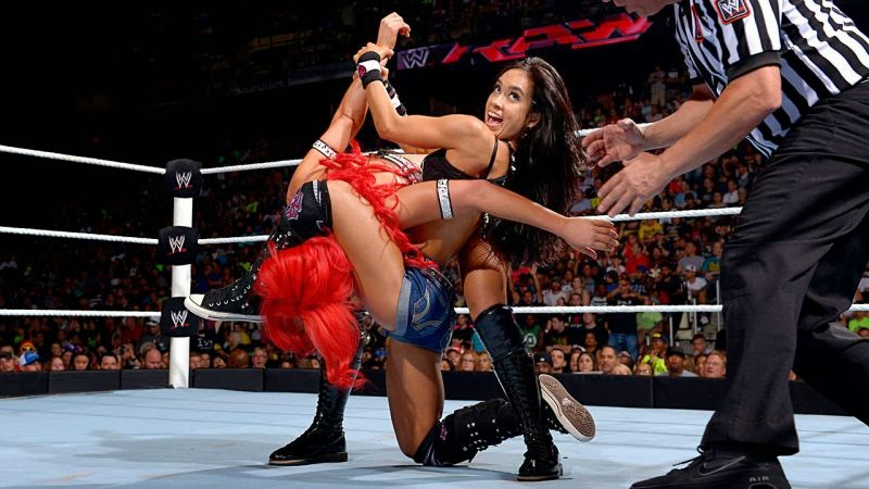 AJ Lee vs Eva-wwe ladies wrestling