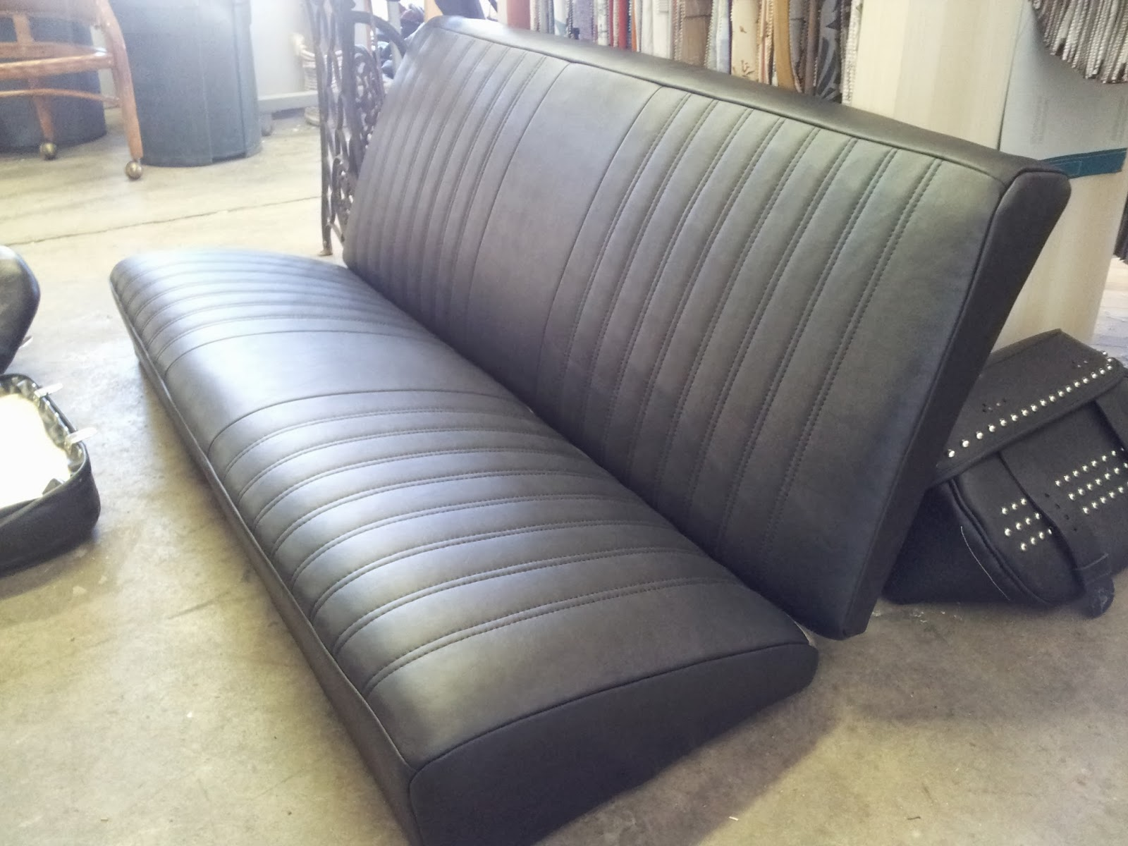 homestyle custom upholstery and awning custom black vinyl car seats. Black Bedroom Furniture Sets. Home Design Ideas