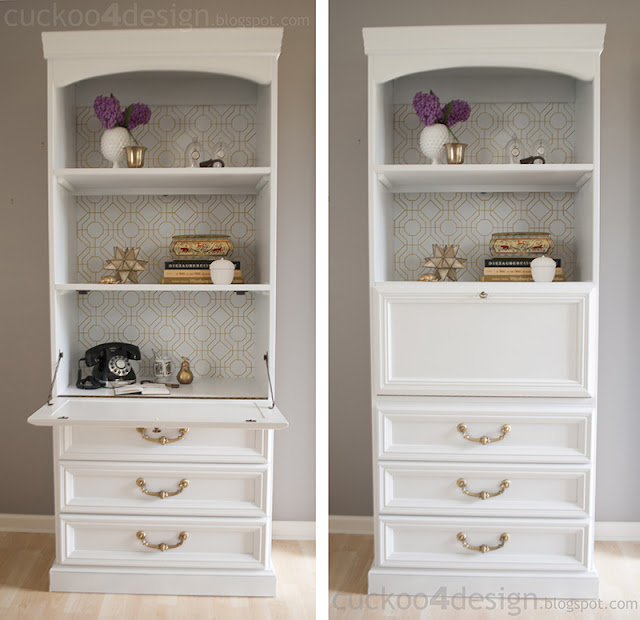 white and gold desk makeover with bold patterned wallpaper