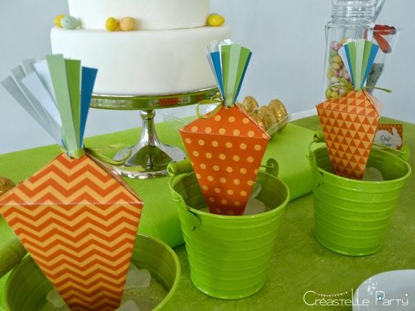 boîtes cadeau en forme de carottes pour la Sweet table lapin de Pâques
