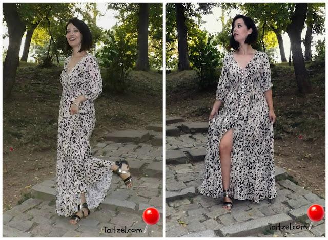 Rochie maxi cu imprimeu de leopard  outfit ootd maxi dress