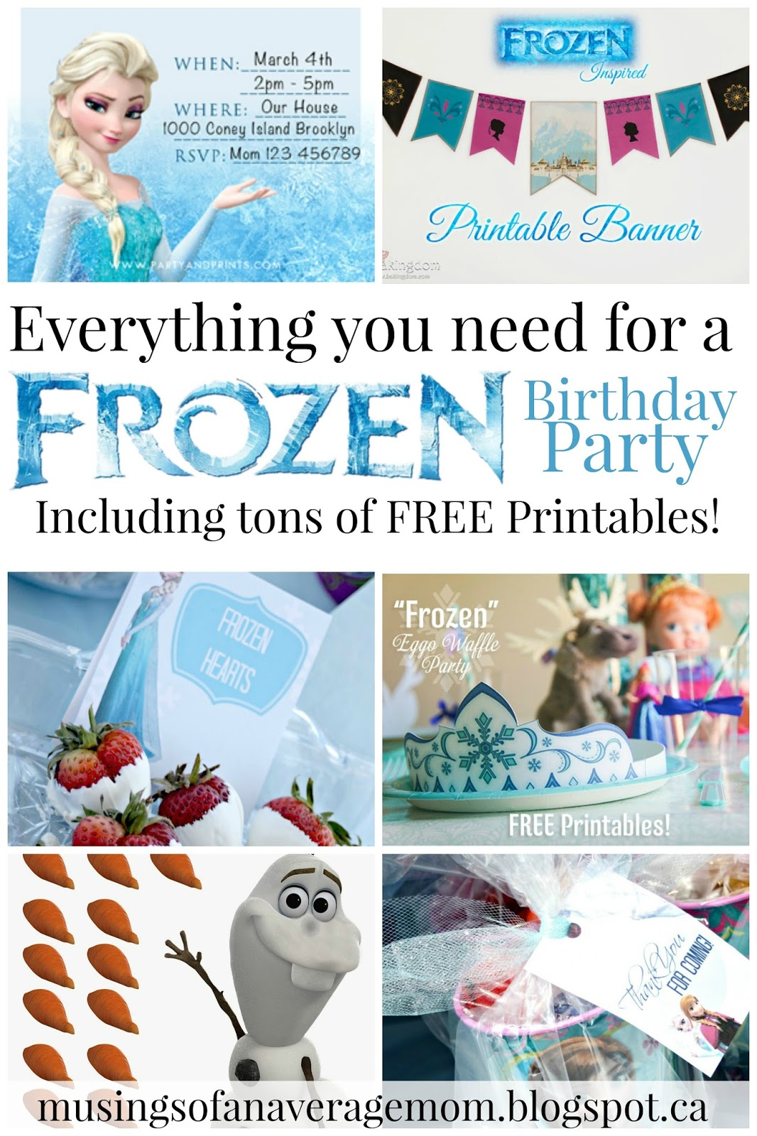 But I Couldnu0027t Find Any Frozen Party Supplies In Our Small City. So Here Is  A Collection Of My Favourite And Free Frozen Party Printables.
