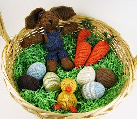 easter basket eggs knit bird rabbit bunny carrots duck boy farmer