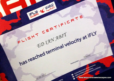 Certificate of PlayNation's ifly Dubai
