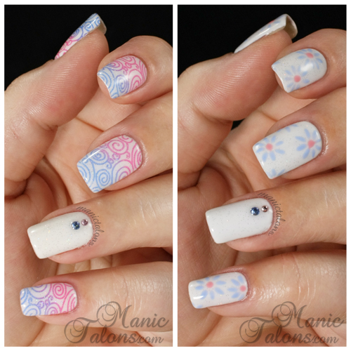 Pastel Manicures with Crystals