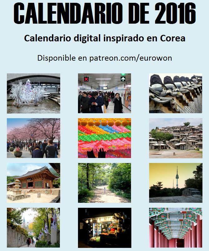 Portada del calendario de 2016 con fotos de Corea creado por Eurowon