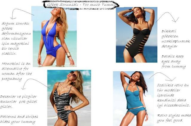 göbek sorunu olanlara bikini mayo mayokini modelleri