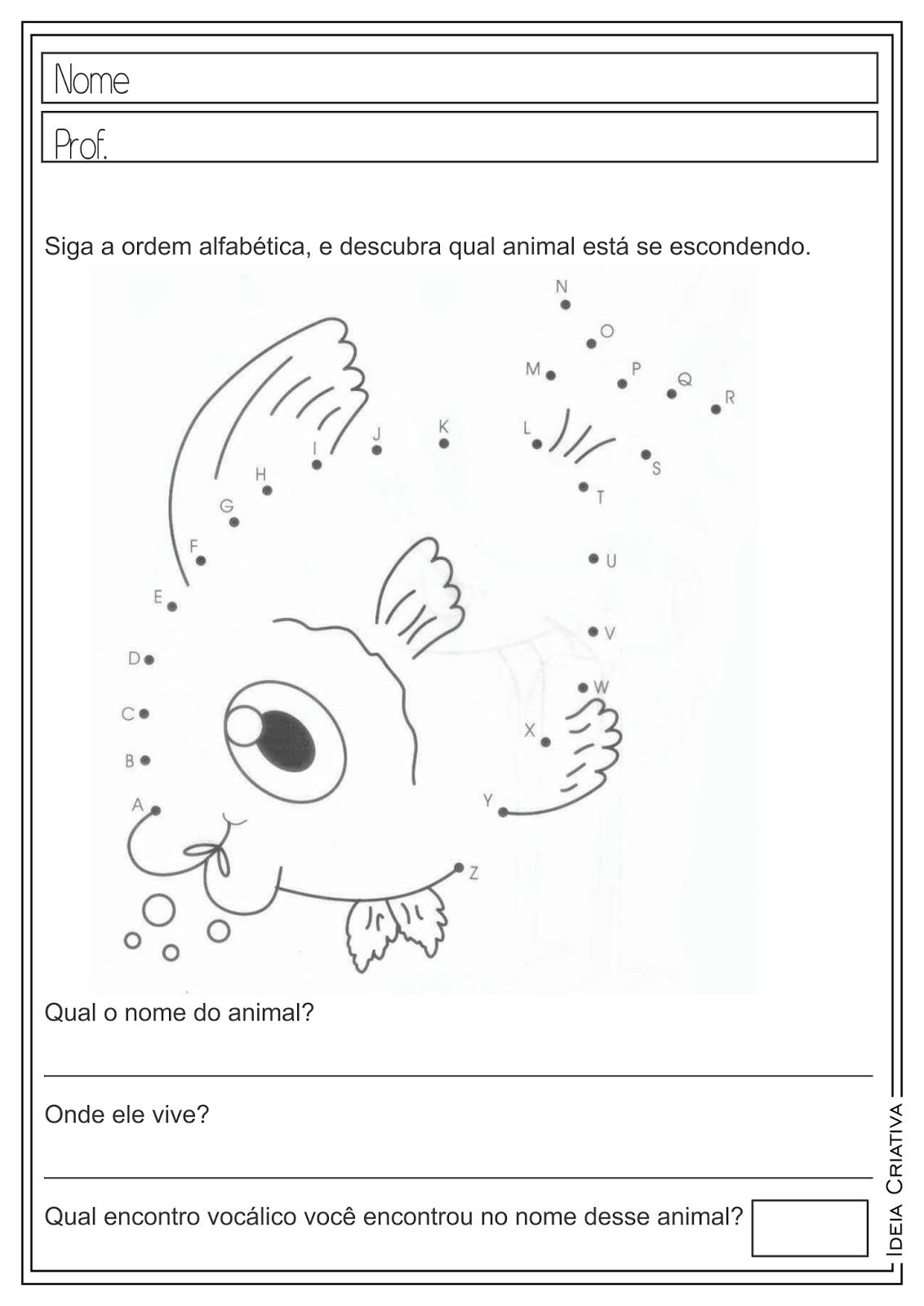 Atividades Educativas Ordem Alfabética - Vogais e Encontros Vocálicos para Ensino Fundamental