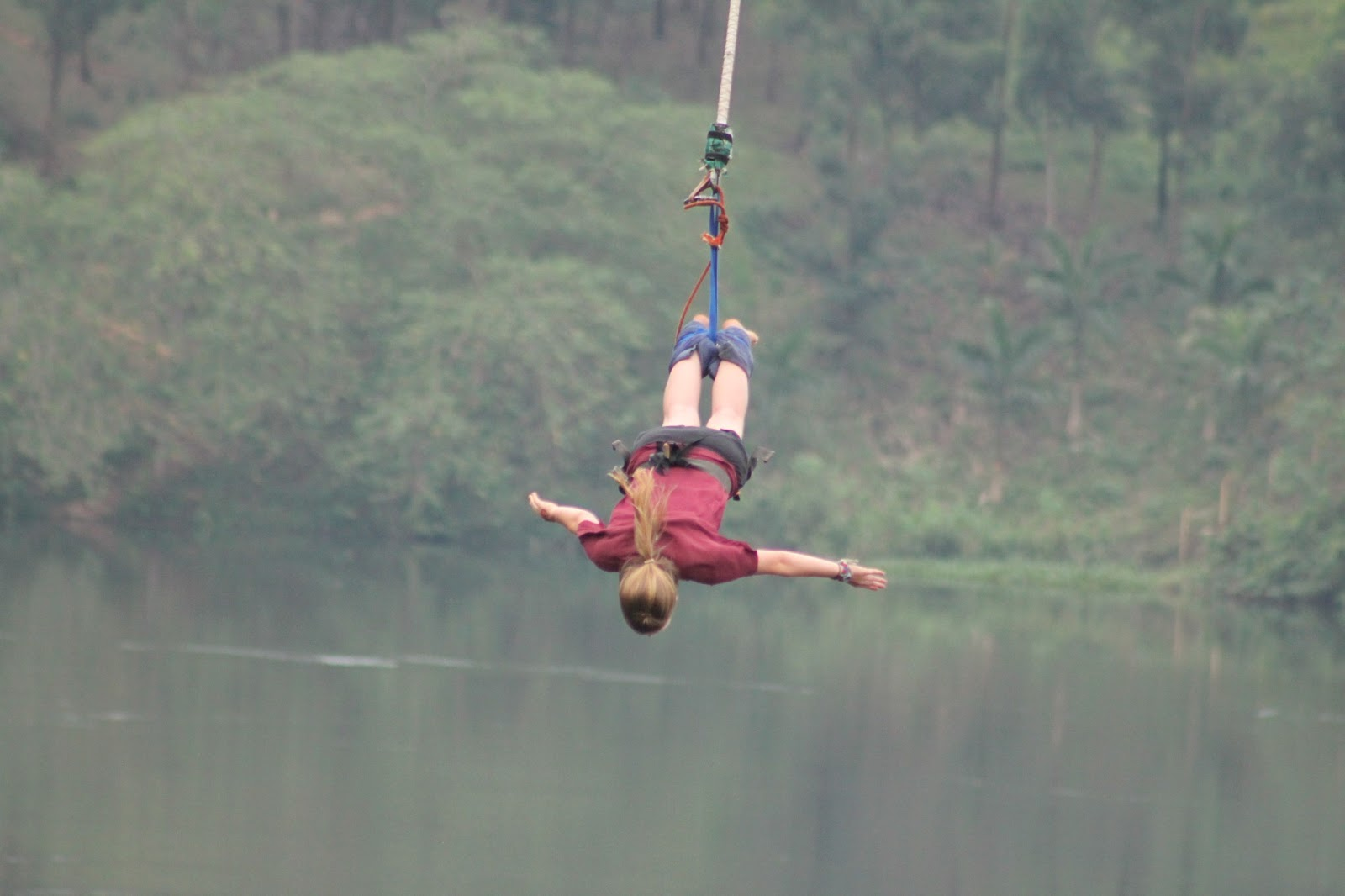 a description of the benefits of engaging into bungee jumping Bungee jumping is a recreational activity that involves jumping from a high surface while attached to an elastic cord one end of this elastic cord is attached to the this causes the jumper to bounce up and down over the length of the jumping area until the energy from the jump has been depleted.