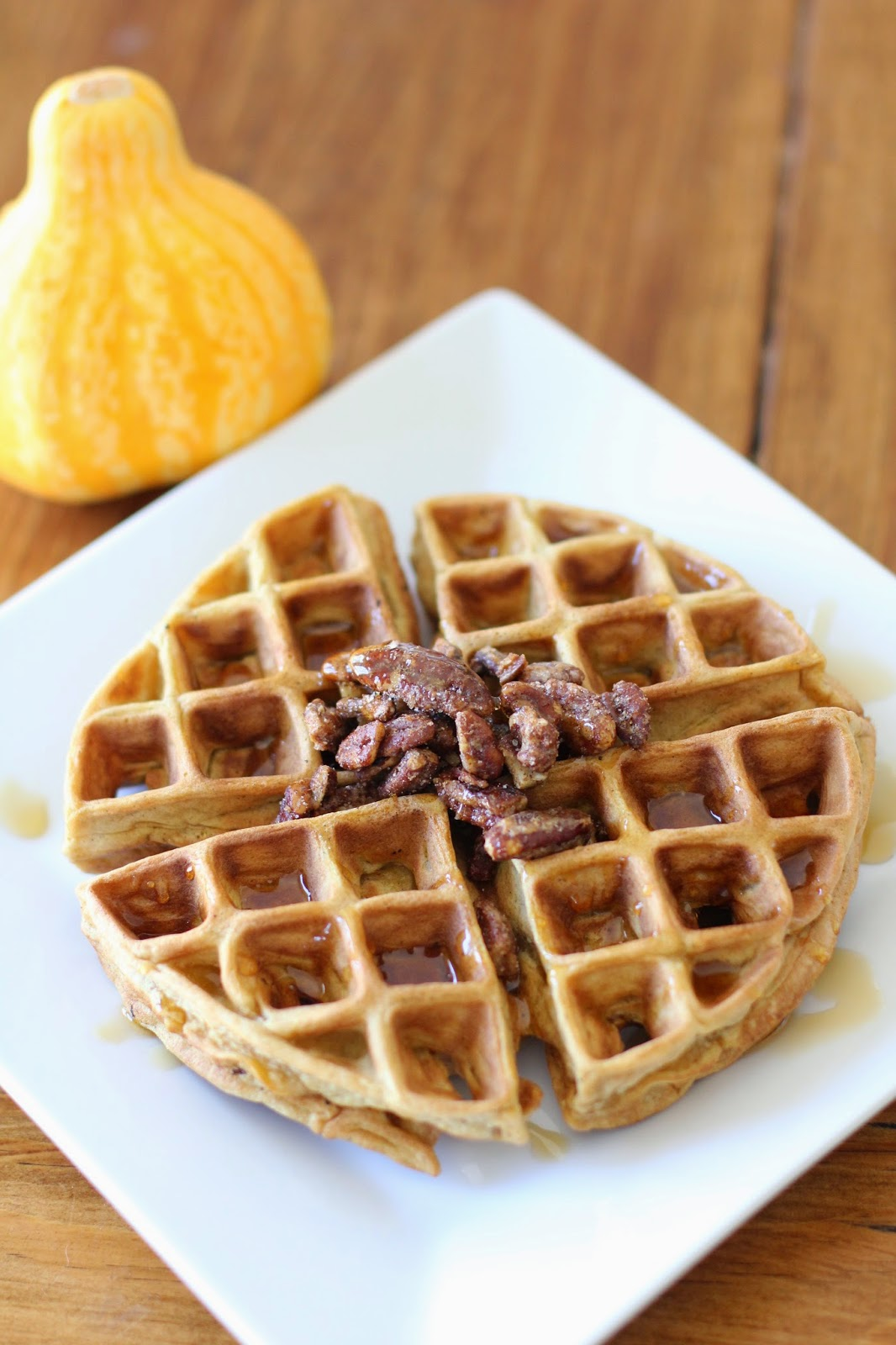pumpkin waffles with roasted pecans // Like The Yogurt Blog