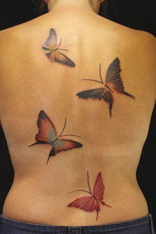 Flitting butterfly tattoo on the back