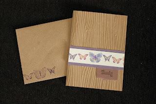 Kraft brown butterfly card eggplant blue gold greeting card by HandiworkinGirls