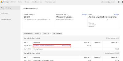 Bukti Pembayaran Google Adsense Yang Ketiga - September 2015