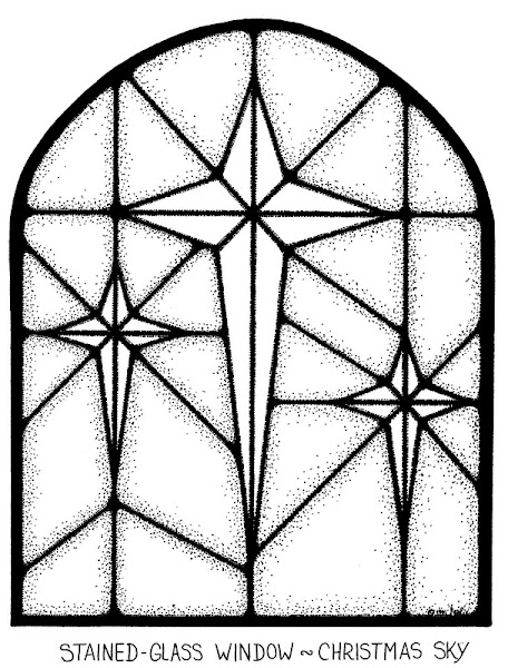 Christmas Stained Glass Window Colouring Sheets