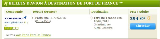 Bons plans voyage Martinique Juin et Juillet pas cher.