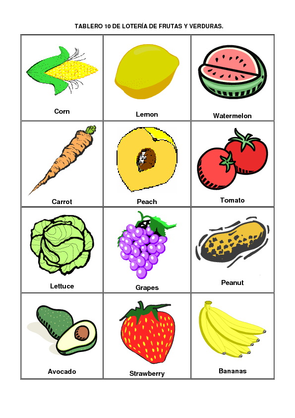 Lotería en inglés para niños para imprimir - Imagui