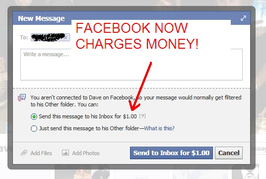 how to send non facebook friend message to inbox