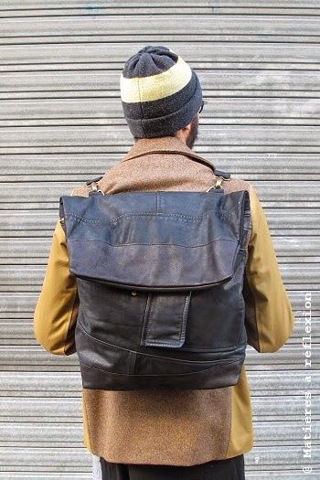 Sac à dos homme en cuir vintage noir - look du jour