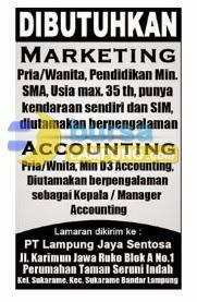 Lowongan Kerja Lampung 9 Juli 2014 PT Lampung Jaya Sentosa