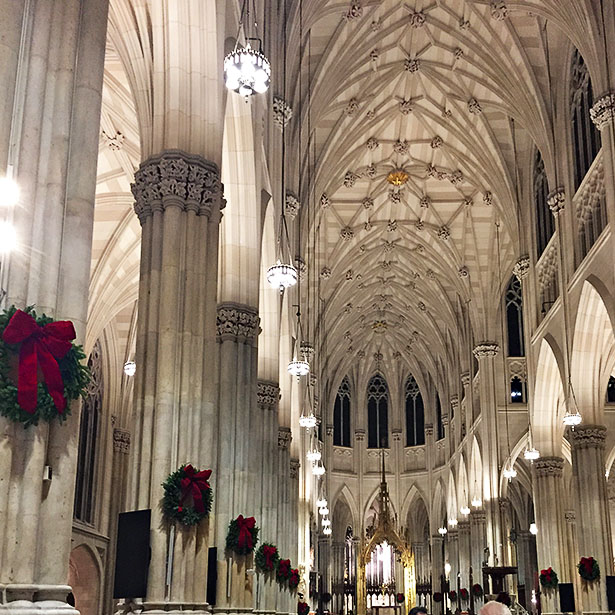 St. Patrick's Cathedral in New York City at Christmas