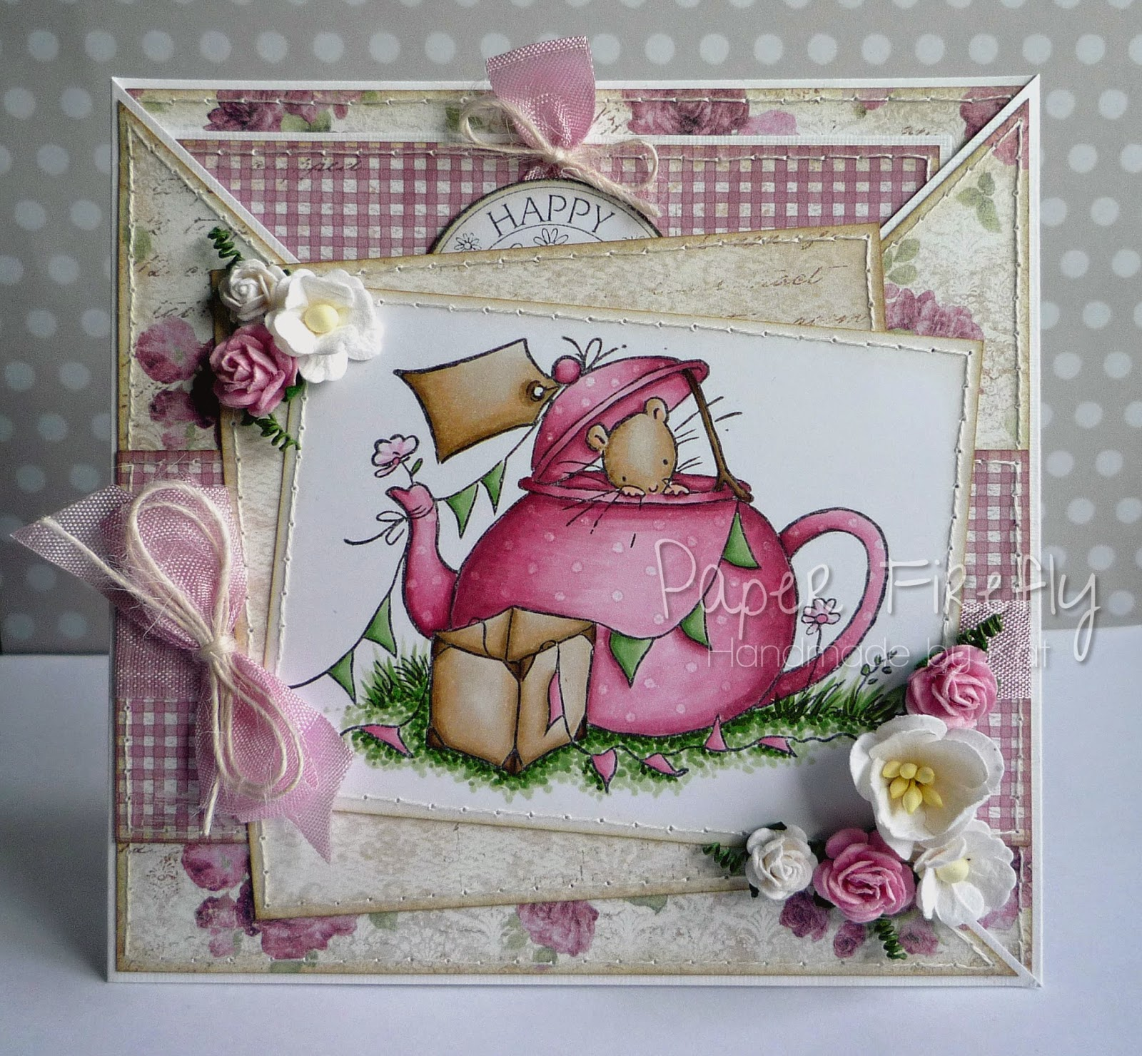 Pink floral criss cross card featuring cute mouse in teapot