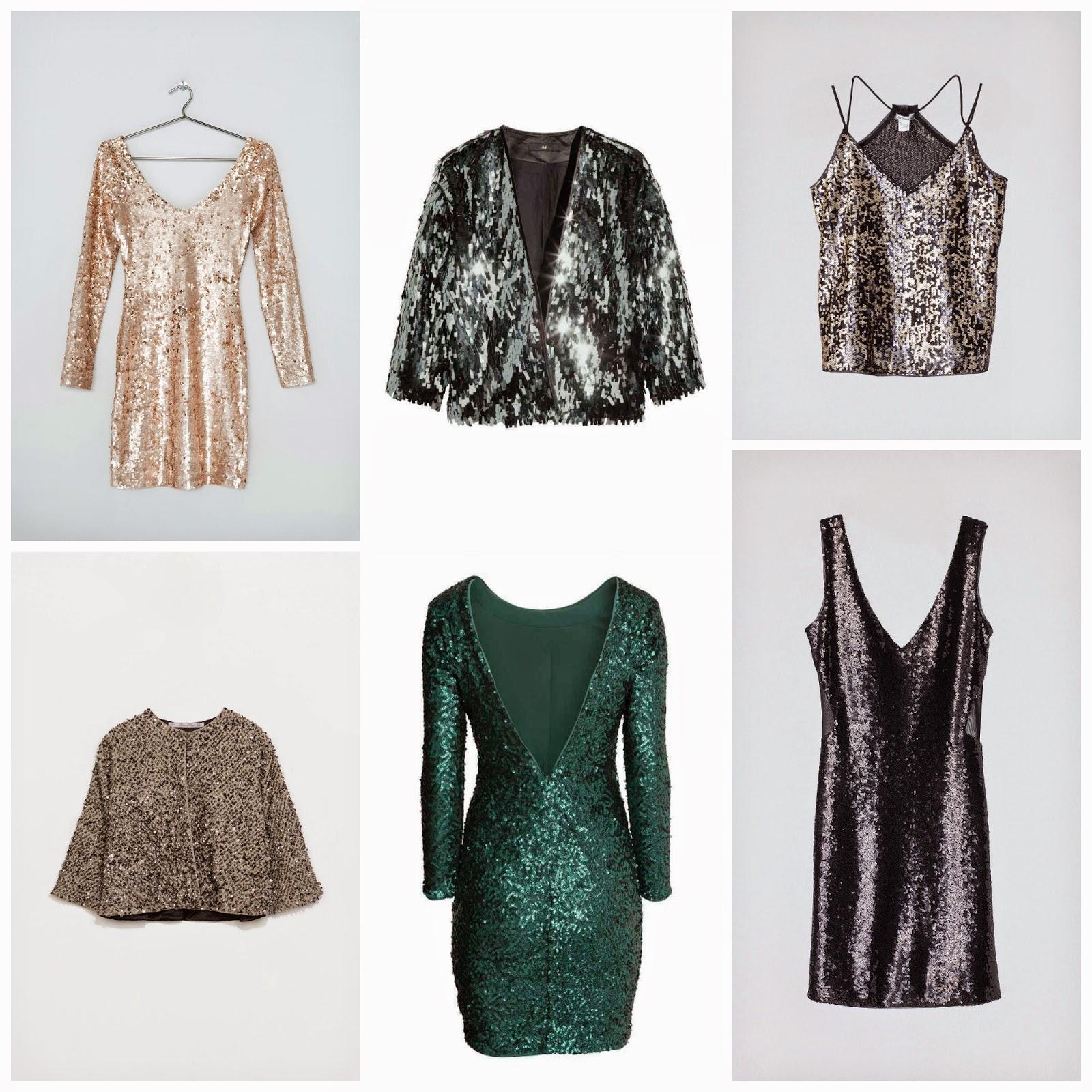 Vestidos lentejuelas para Navidad. Vestido Verde Lentejuelas H&M. Vestido Negro lentejuelas Zara. Chaqueta lentejuelas Zara. Shorts lentejuelas H&M. Paillettes para Navidad.