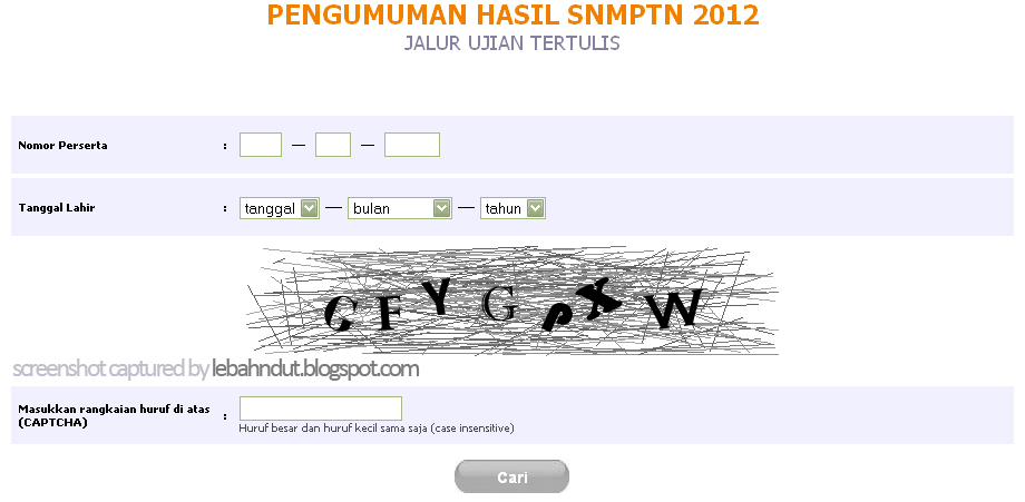 Pengumuman Hasil SNMPTN 2012 Jalur Ujian Tertulis Online ujian.snmptn.ac.id