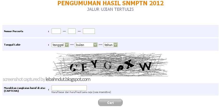 Pengumuman Hasil SNMPTN 2012 Jalur Ujian Tertulis Online ujian.snmptn.ac.id