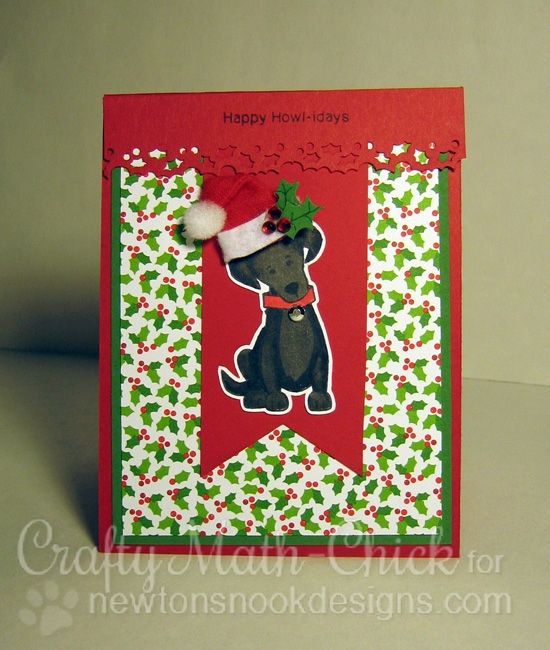 Happy Howl-idays Christmas Dog Card by Crafty Math Chick | Fetching Friendship stamp set by Newton's Nook Designs #newtonsnook