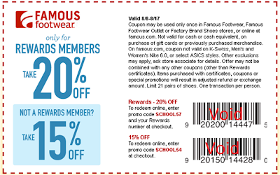 graphic regarding Famous Footwear Printable Coupon titled Renowned Sneakers- Consider 15-20% Off Your Obtain w/ Coupon