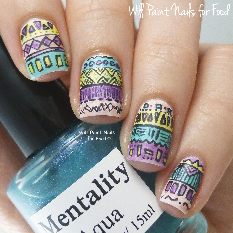 Intricate geometric nail art with Mentality Glazes