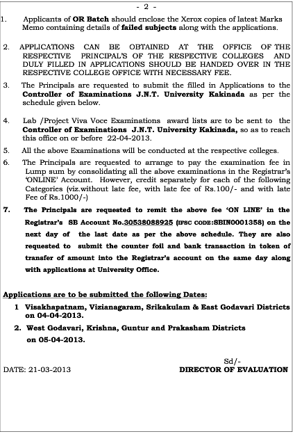 JnTuK Bpharmacy 2-2 Regular, Supple Exam Fee Notification May 2013