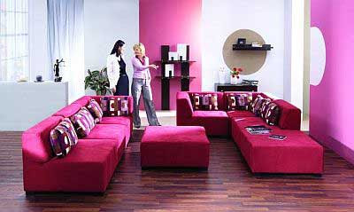 living room woman pink color