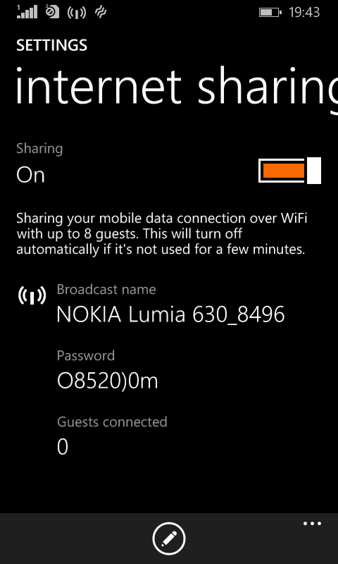 Nokia Lumia 630 as WiFi Hotspot