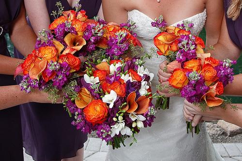 wwwboardsweddingbeecom rich purple orange and white bouquets