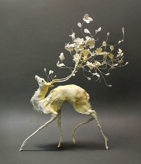 Unique clay and wire sculpture