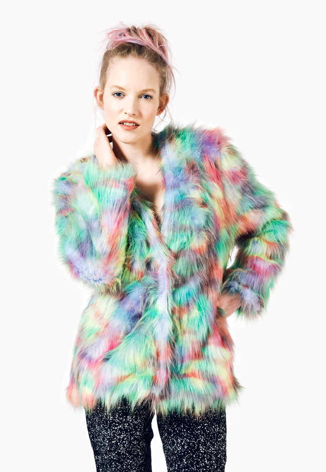 Joanna Pybus, SS14, Multicolored fur, fake fur jacket