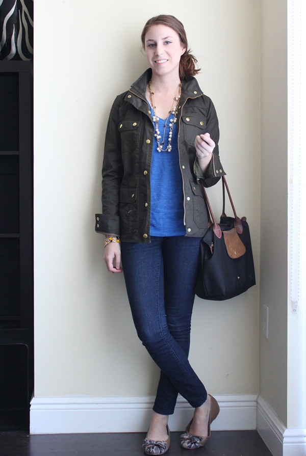 how to wear j crew downtown field jacket