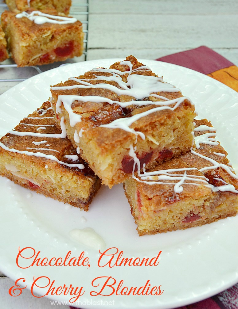 Chocolate Almond and Cherry Blondies ~ Chewy Blondies with White Chocolate, Nuts and Cherries to celebrate the season - these are irresistible and you won't be able to stop at only one !