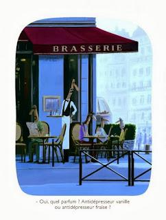 illustration by Voutch of a paris brasserie terrace