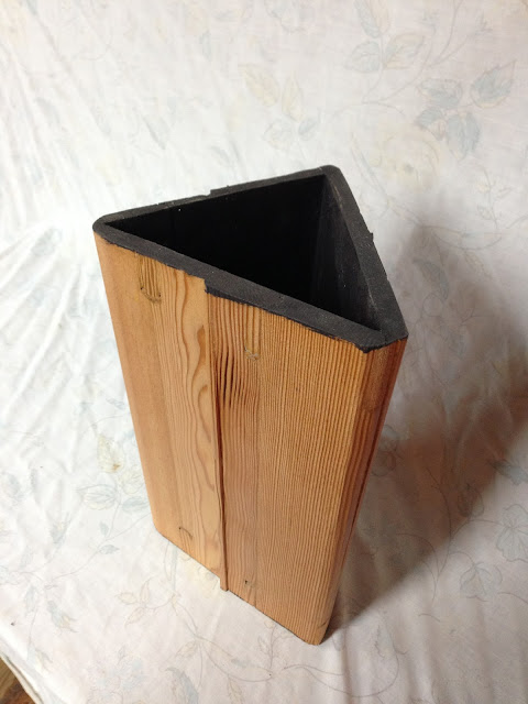 pine triangle vase, haddad art, wood vase