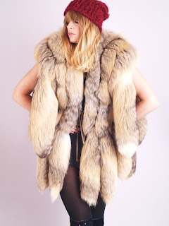 Vintage brown coyote tail fur gillet vest.