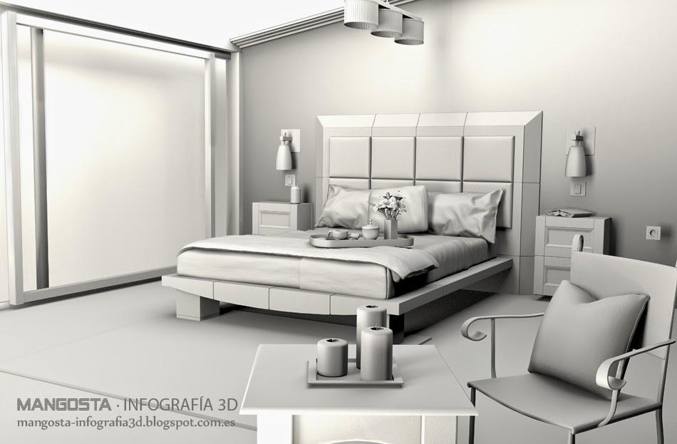 Mangosta infograf a 3d dormitorio interiorismo 3d for Infografia 3d