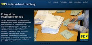 Screenshot der Webseite der FDP Hamburg