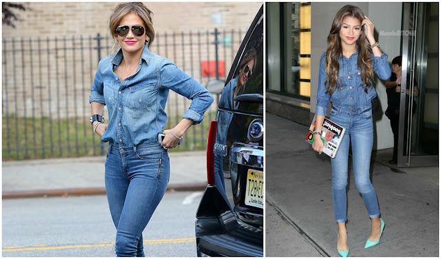 j lo jennifer lopez zendaya celebrity style denim on denim fashion