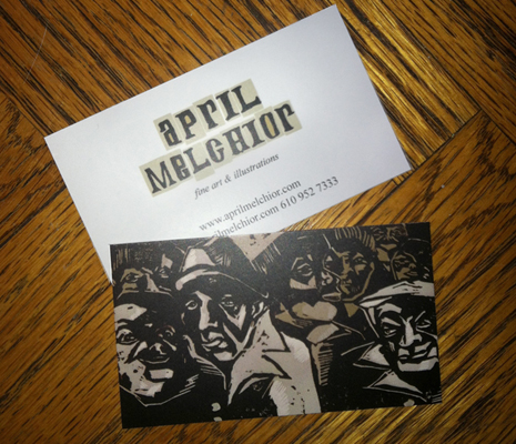 April Melchior illustrated business cards on the table